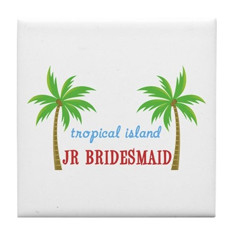 Jr Bridesmaid Tropical Wedding Tile Coaster