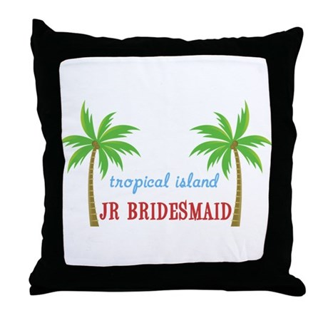 Jr Bridesmaid Tropical Wedding Throw Pillow