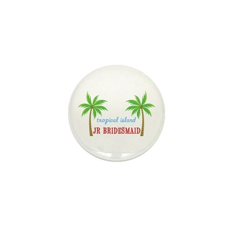Jr Bridesmaid Tropical Wedding Mini Button