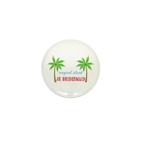 Jr Bridesmaid Tropical Wedding Mini Button (100 pa