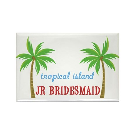 Jr Bridesmaid Tropical Wedding Rectangle Magnet (1