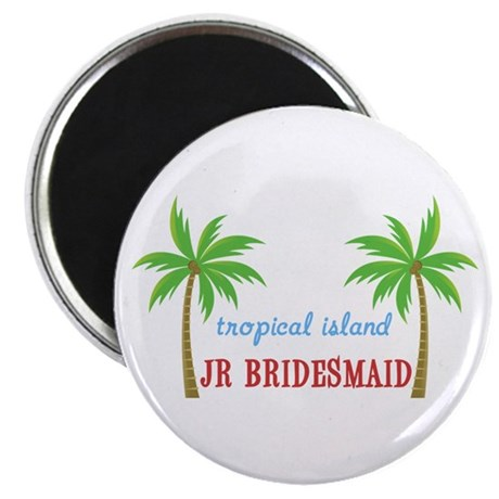 "Jr Bridesmaid Tropical Wedding 2.25"" Magnet (10 pa"