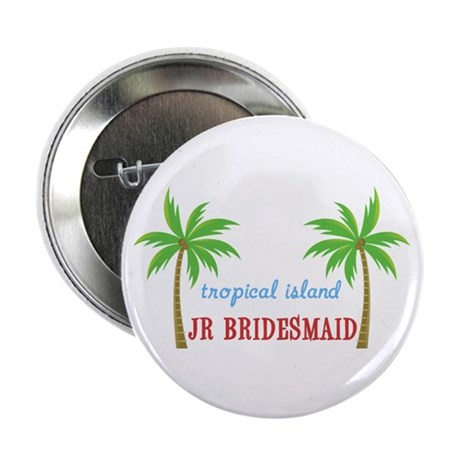 "Jr Bridesmaid Tropical Wedding 2.25"" Button (10 pa"