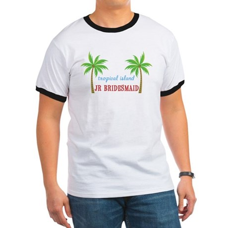 Jr Bridesmaid Tropical Wedding Ringer T
