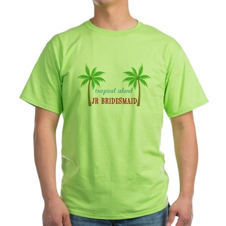 Jr Bridesmaid Tropical Wedding Green T-Shirt