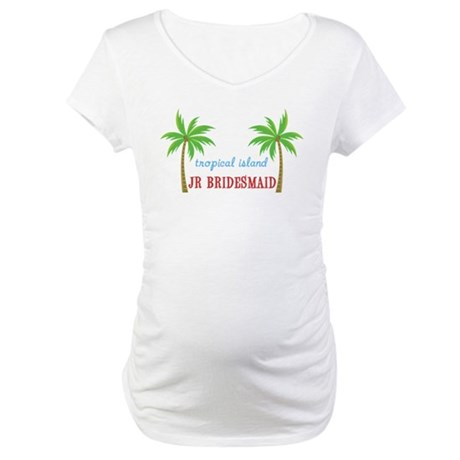 Jr Bridesmaid Tropical Wedding Maternity T-Shirt