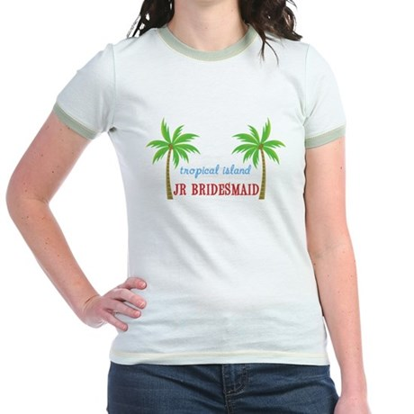 Jr Bridesmaid Tropical Wedding Jr. Ringer T-Shirt
