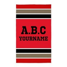 Customizable Black and Red Sports Stripes Area Rug