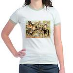 Dog Group From Antique Art Jr. Ringer T-Shirt