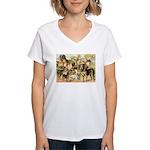 Dog Group From Antique Art Women's V-Neck T-Shirt