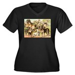 Dog Group From Antique Art Women's Plus Size V-Nec