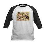 Dog Group From Antique Art Kids Baseball Jersey
