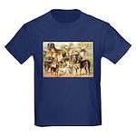 Dog Group From Antique Art Kids Dark T-Shirt