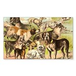 Dog Group From Antique Art Rectangle Sticker