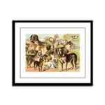 Dog Group From Antique Art Framed Panel Print