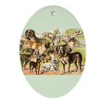 Dog Group From Antique Art Oval Ornament