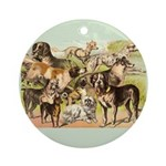 Dog Group From Antique Art Ornament (Round)