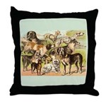 Dog Group From Antique Art Throw Pillow