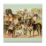 Dog Group From Antique Art Tile Coaster