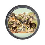 Dog Group From Antique Art Wall Clock