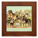 Dog Group From Antique Art Framed Tile