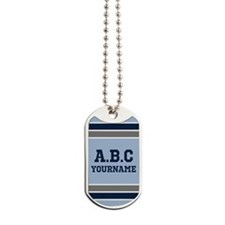 Blue and Gray Jersey Stripes Personalized Dog Tags