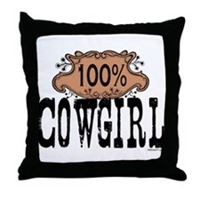 100% Cowgirl Throw Pillow