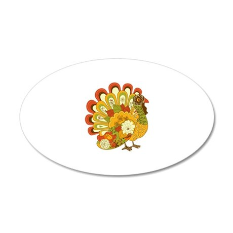 Happy Thanksgiving 20x12 Oval Wall Decal