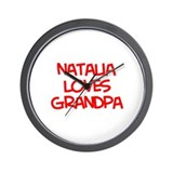 Natalia Loves Grandpa Wall Clock