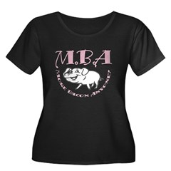 MBA Bacon Pig Women's Plus Size Scoop Neck Dark T