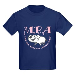 MBA Bacon Pig Kids Dark T-Shirt