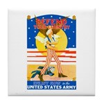 Army Defend Your Country Tile Coaster