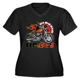 Classic Flames Motorcycle Women's Plus Size V-Neck