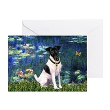 Fox Terrier (#1) & Lilies Greeting Card