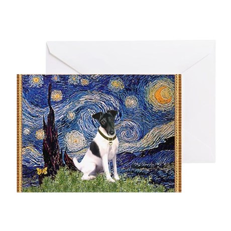 Starry Night & Smooth Fox Terrier Greeting Cards (