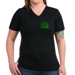 Green Stadium Women's V-Neck Dark T-Shirt
