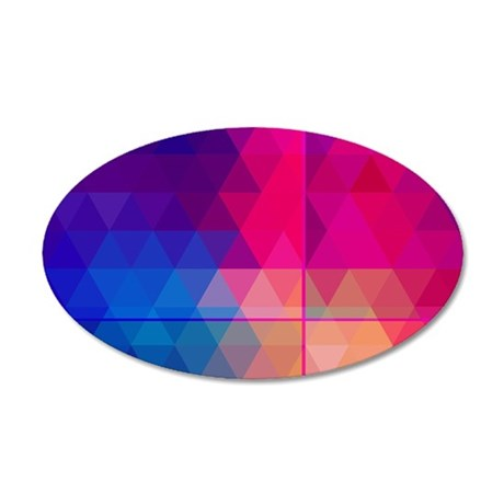 Colorful Abstract Geometric 35x21 Oval Wall Decal