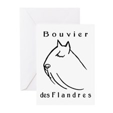 Bouvier Head Sketch w/ Text Greeting Cards (Pk of