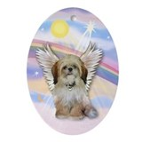 Angel Shih Tzu in Clouds Oval Ornament