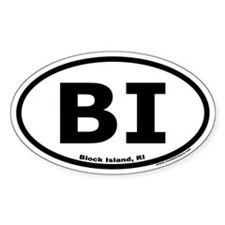 Block Island, RI Oval Euro Decal