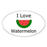 I love Watermelon Oval Stickers