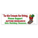 Autism Christmas Stocking 3 Bumper Car Sticker