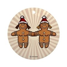 lesbian gingerbread couple Ornament (Round)