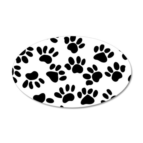 Paw Prints 20x12 Oval Wall Decal