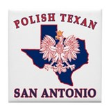 San Antonio Polish Texan Tile Coaster