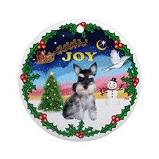 JOY Wreath - Schnauzer (ZZcrpd) Ornament (Round)