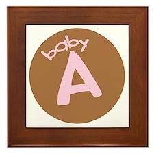 baby A brown/pink Framed Tile