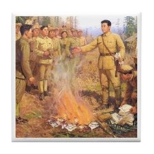 Kim Il Sung's Bonfire Tile Coaster
