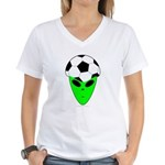 ALIEN SOCCER HEAD Women's V-Neck T-Shirt