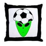 ALIEN SOCCER HEAD Throw Pillow
